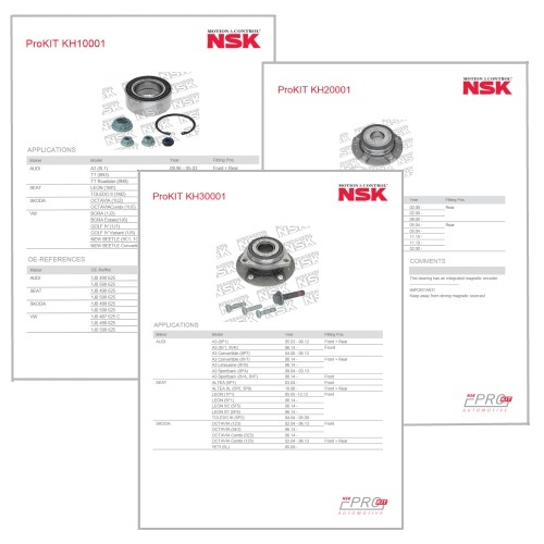 NSK ProKIT Wheel Bearing Kit - Data Sheets